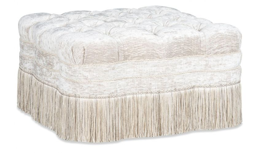 Luxury Leather & Upholstered Furniture Square Tufted Ottoman Stool