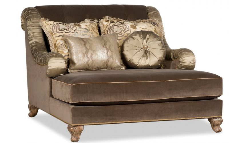 CHAIRS - Leather, Upholstered, Accent Golden and Brown Loveseat Sofa
