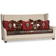 Yesteryear Sofa Leather and Fabric Upholstered