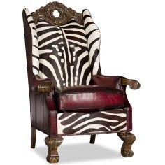 Wingback Throne Club Chair Zebra Design