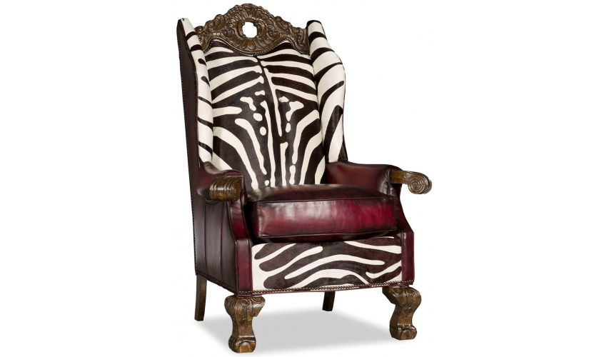 Luxury Leather & Upholstered Furniture Wingback Throne Club Chair Zebra Design