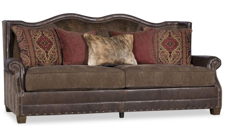 SOFA, COUCH & LOVESEAT Traditional Leather & Fabric Sofa