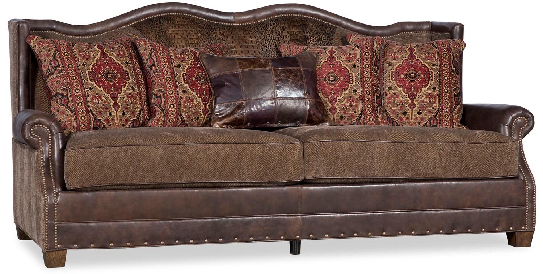 Traditional Leather Amp Fabric Sofa