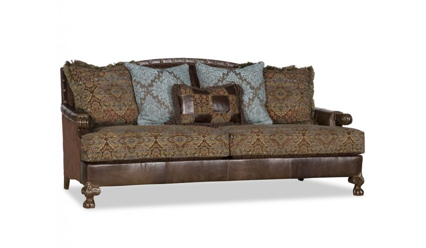 SOFA, COUCH & LOVESEAT Colorful Printed Fabric Upholstered Sofa