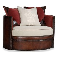 Cocoa Brown Leather Round Arm Chair