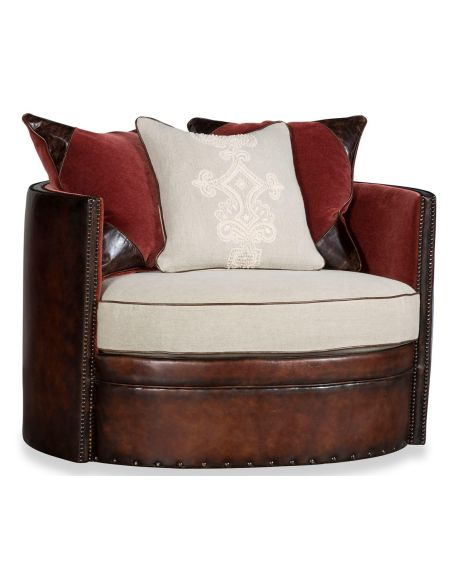 Luxury Leather & Upholstered Furniture Cocoa Brown Leather Round Arm Chair