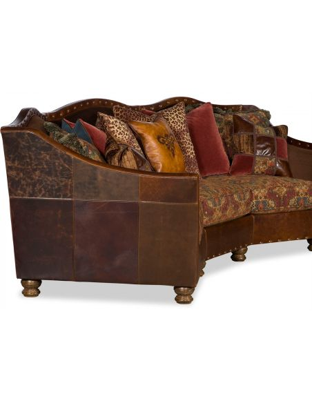 3 People Curved Sofa Contoured Backrest