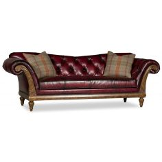 Classy Tufted Red Leather Couch