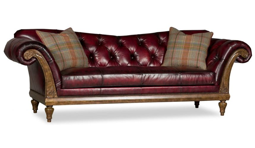 SOFA, COUCH & LOVESEAT Classy Tufted Red Leather Couch