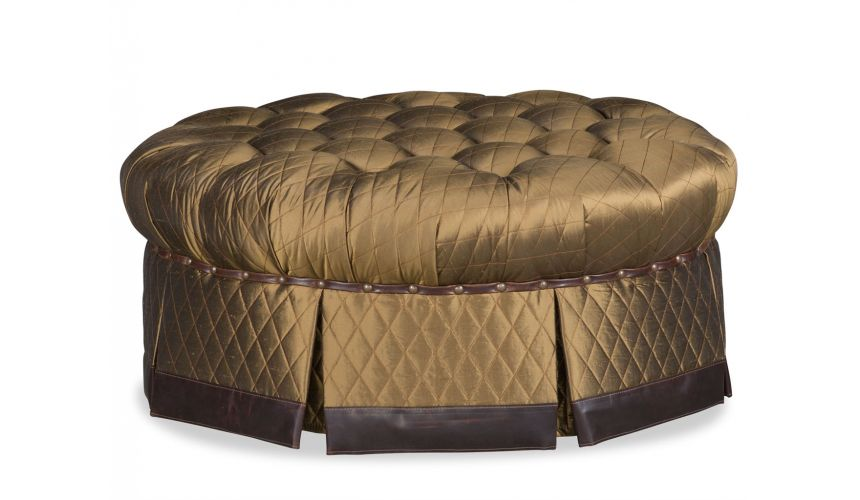 Luxury Leather & Upholstered Furniture Skirted Tufted Ottoman Tool