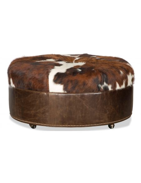 Luxury Leather & Upholstered Furniture Brown Leather Ottoman Tool with Fur Top