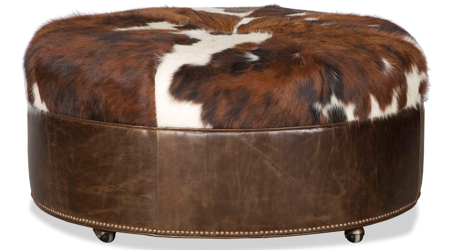 Brown leather ottoman - Luxury Leather Upholstered Furniture Brown Leather Ottoman Tool With Fur Top
