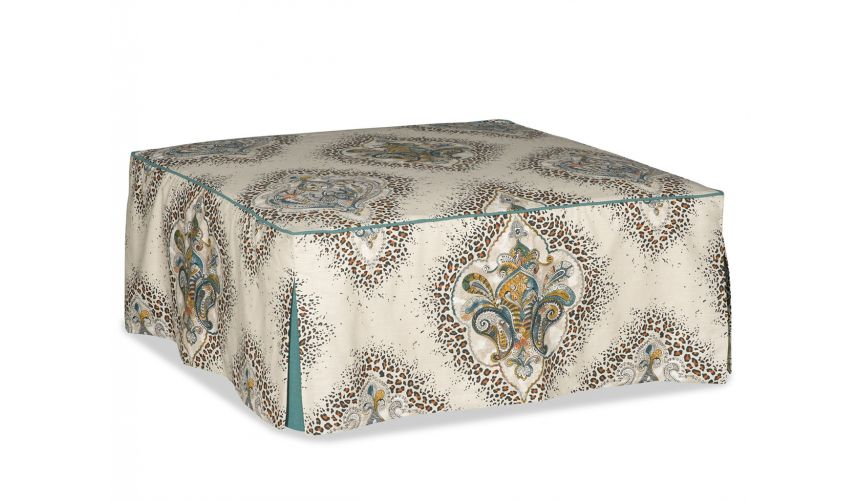 Luxury Leather & Upholstered Furniture Skirted Ottoman Tool Indian Design