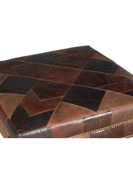 Luxury Leather & Upholstered Furniture Checkered Small Ottoman Bench