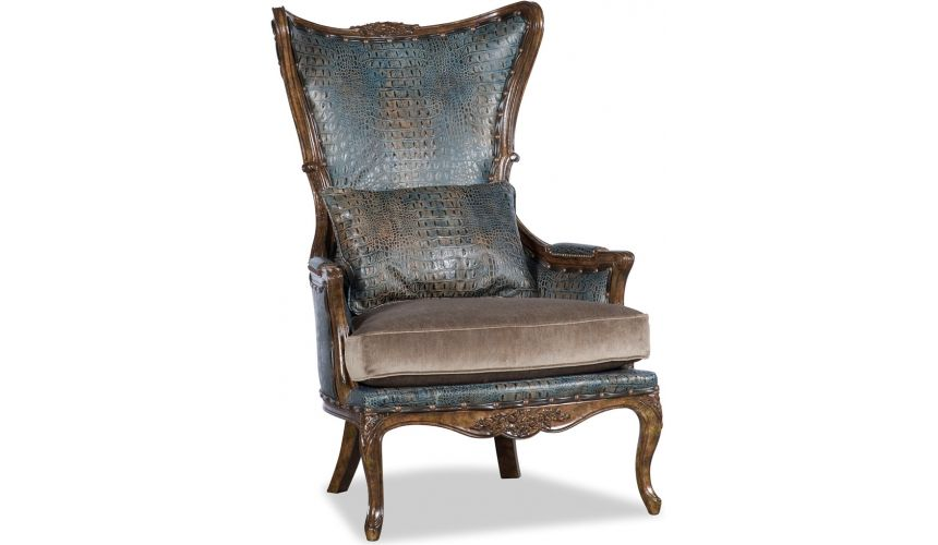 Luxury Leather & Upholstered Furniture Teal and Brown Chintz Lounge Chair