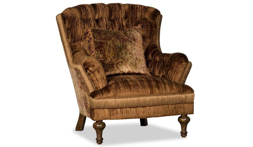 Luxury Leather & Upholstered Furniture Dark and Saddle Brown Chintz Club Arm Chair