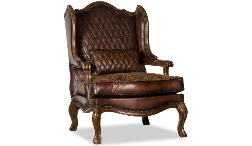 Luxury Leather & Upholstered Furniture Brown Wingback Club Armchair