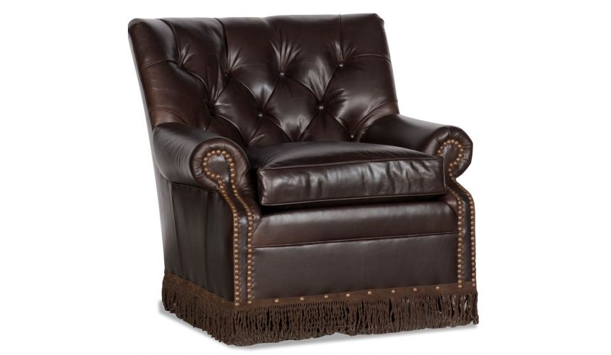 Luxury Leather & Upholstered Furniture One Person Glider with Fringe