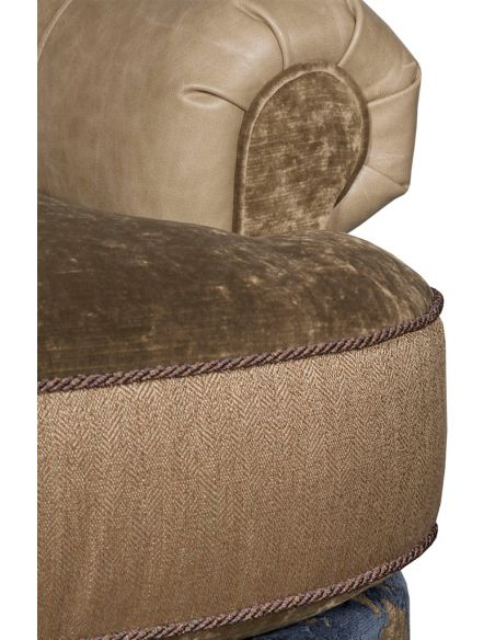 Luxury Leather & Upholstered Furniture Elegant Fabric and Leather Armchair