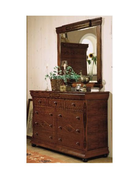 LUXURY BEDROOM FURNITURE Vintage Drawer Chest with Vanity Mirror