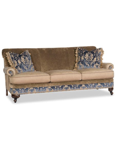 Luxury Leather & Upholstered Furniture Fabric Sofa with Floral Design Work