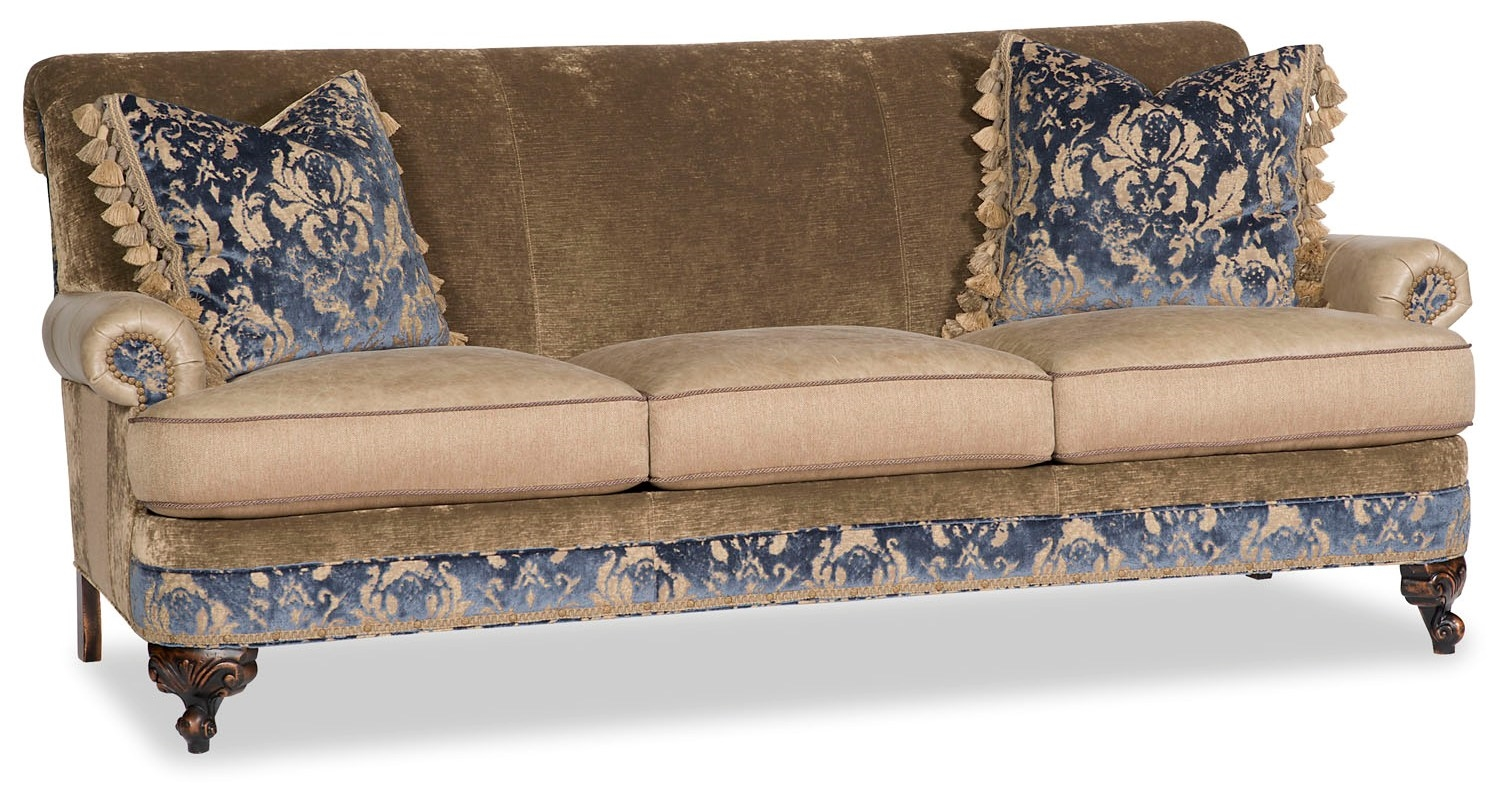 Fabric Sofa With Floral Design Work