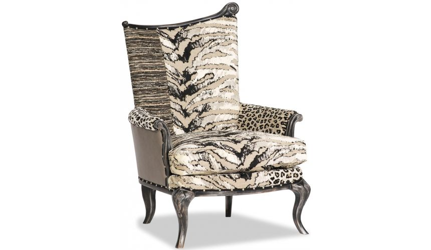 Luxury Leather & Upholstered Furniture Classic Armchair Wild Cat Striped Fabric