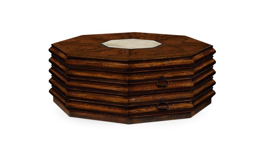 Coffee Tables Octagonal Brown Walnut Coffee Table