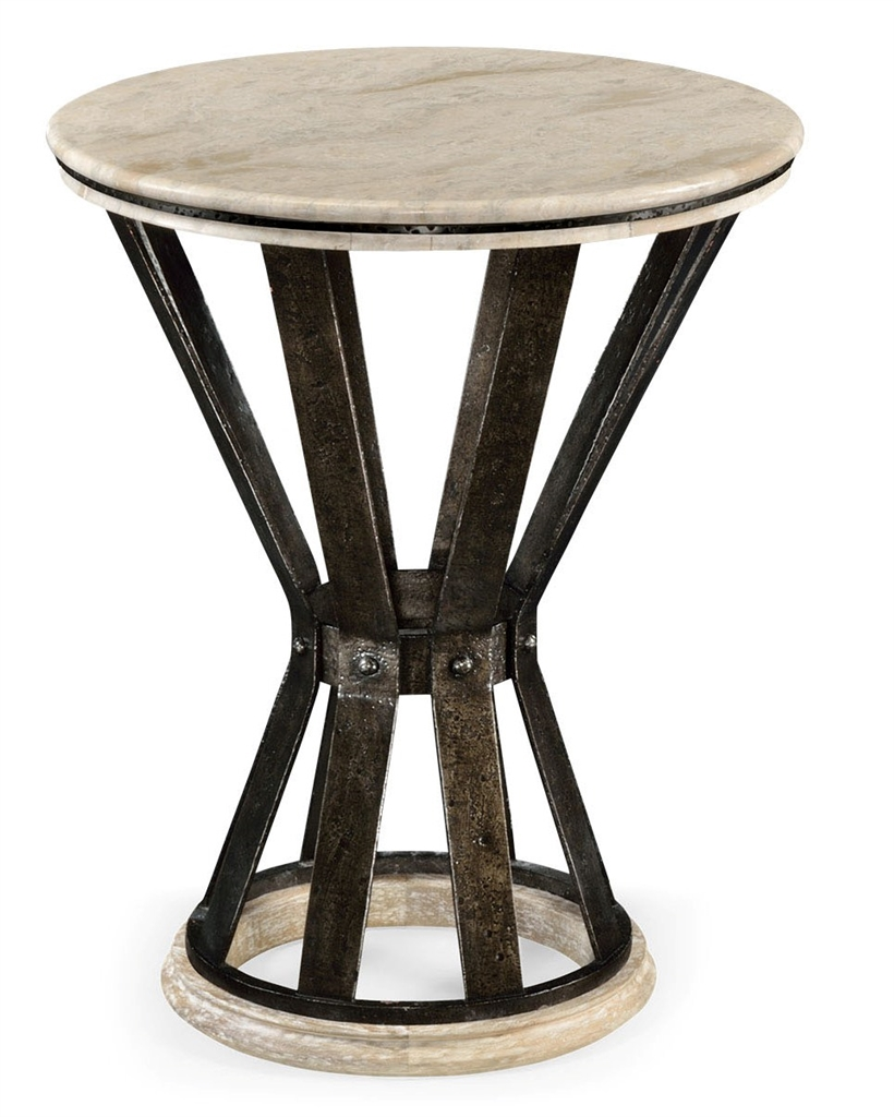 Marble top round coffee table with iron base for Stone topped coffee tables