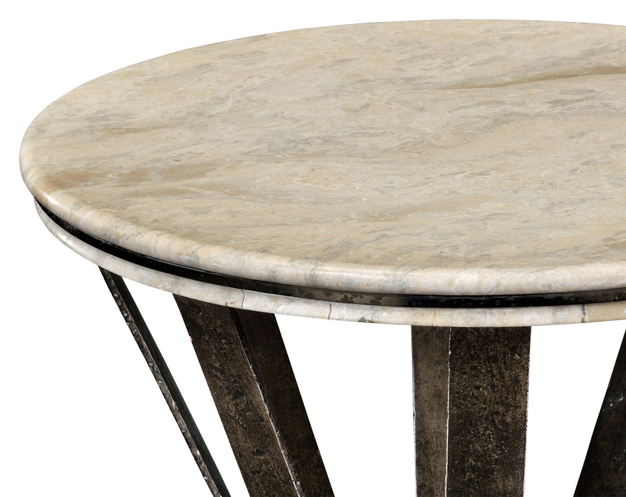 Marble top round coffee table with iron base Round marble coffee tables
