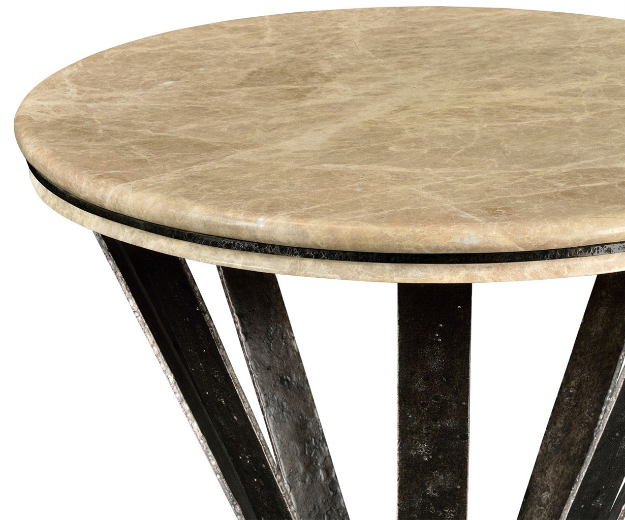 Dark Marble Top Round Coffee Table With Iron Base