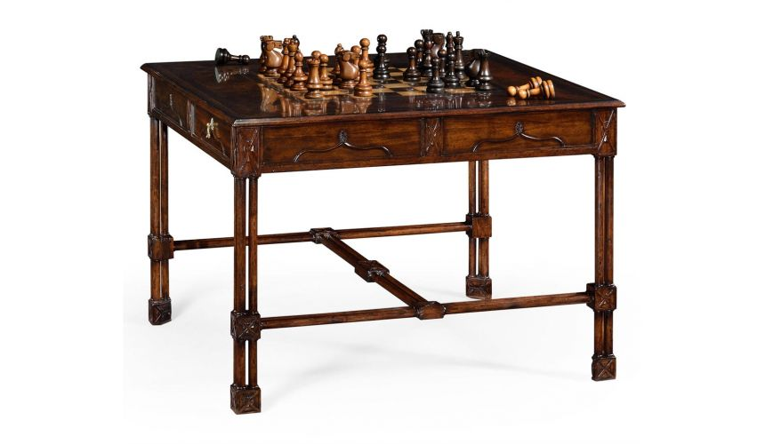 Game Card Tables & Game Chairs Large Gothic Walnut Games Table
