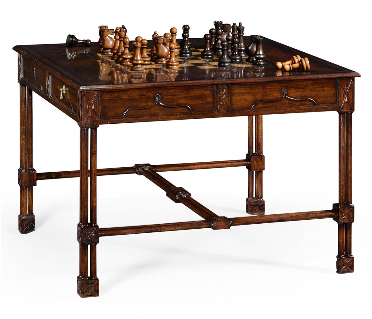 Large gothic walnut games table game card tables game chairs large gothic walnut games table geotapseo Gallery