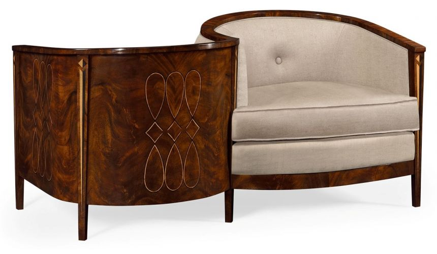 CHAIRS, Leather, Upholstered, Accent Biedermeier Style Serpentine Loveseat