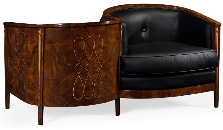 CHAIRS, Leather, Upholstered, Accent Biedermeier Style Serpentine Loveseat with Black Upholstery