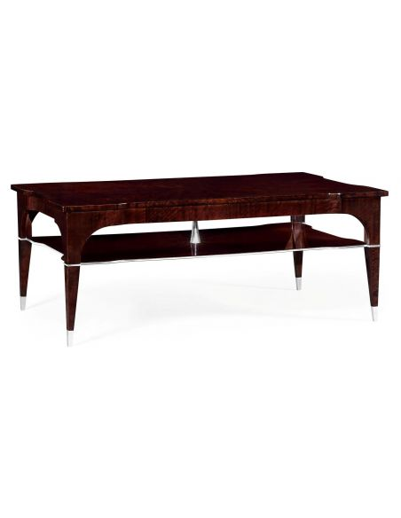 Coffee Tables Black Eucalyptus Rectangular Coffee Table with Tier Underneath
