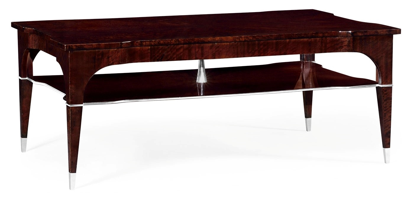 Black Eucalyptus Rectangular Coffee Table With Tier Underneath