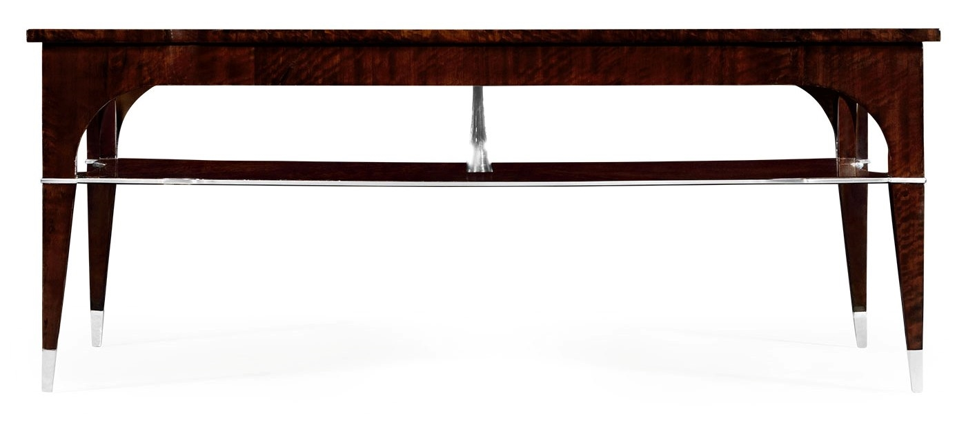 Black Eucalyptus Rectangular Coffee Table With Tier Underneath