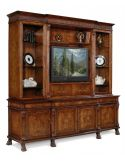 King Size Breakfront Walnut Television Cabinet