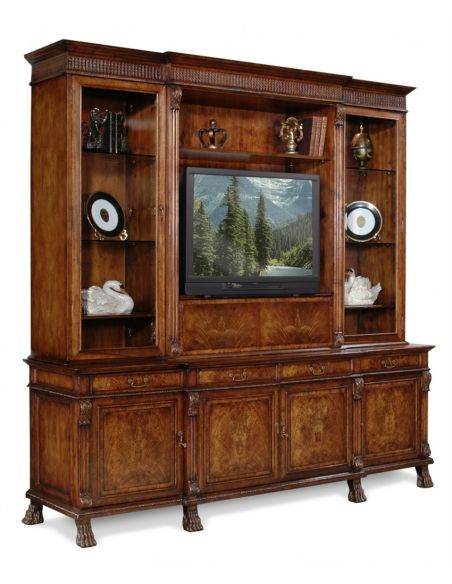 Entertainment Centers, TV Consoles, Pop Ups King Size Breakfront Walnut Television Cabinet
