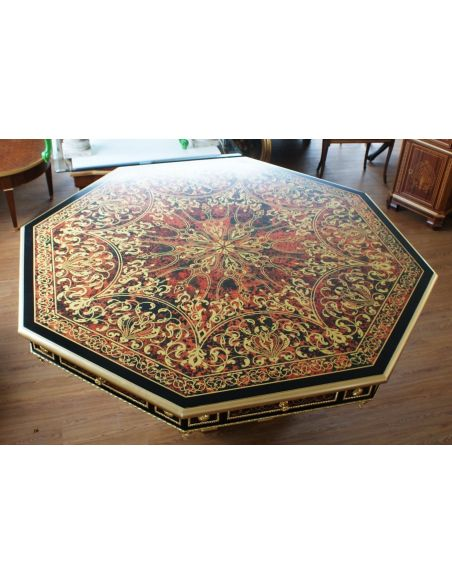 Luxury foyer table. King Louis Collection Boulle marquetry work.