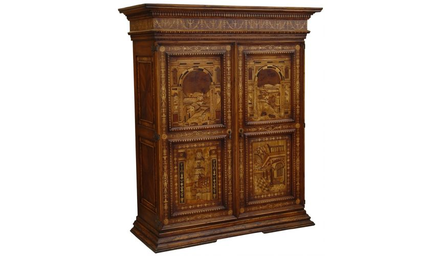 Bookcases Luxury cabinet, armoire, beautiful marquetry work, bench made furnishings.