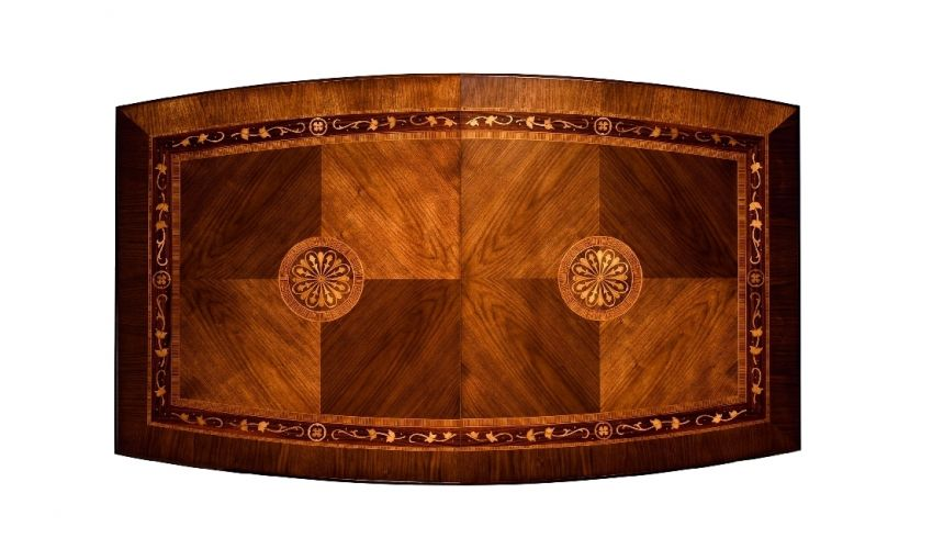 Dining Tables 12 Luxury extending dining table. Exquisite marquetry