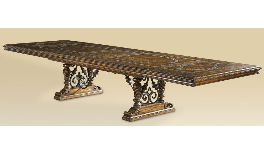 Dining Tables Luxury dining room furniture table with Stone inlay top and iron work