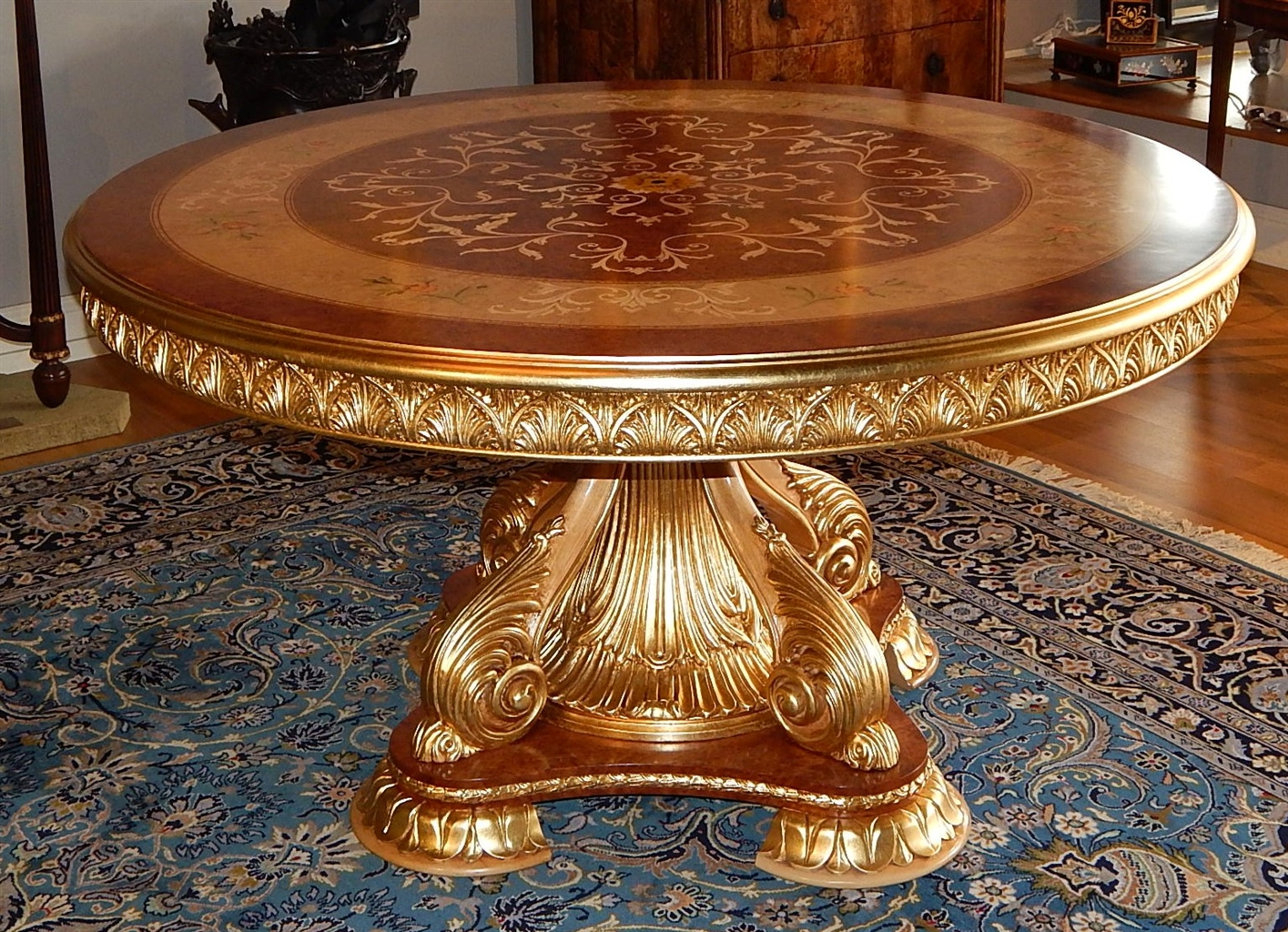 Luxury foyer center table exquisite marquetry and detail for Expensive dining tables