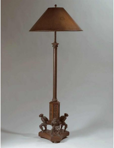 Floor Lamps luxury furniture Eclectic bronze style, leather shade lamp