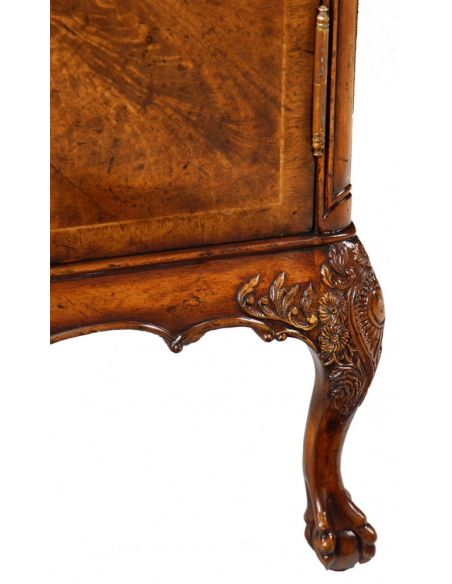Square & Rectangular Side Tables Rectangular Luxury Furniture Crotch Walnut Two Door Cabinet, Bedside