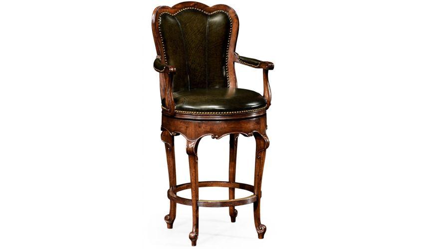 Luxury Leather & Upholstered Furniture Luxury Furniture, Swivel Leather Barstool