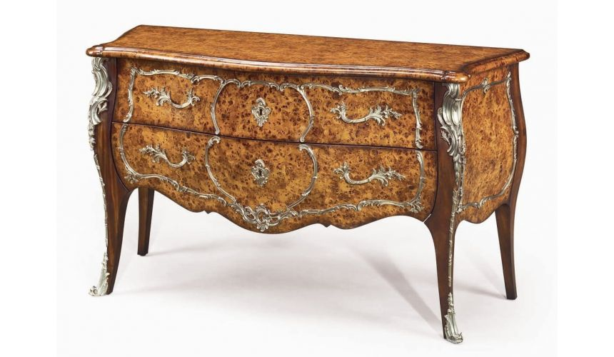 Foyer and Center Tables Luxury furniture. Burl serpentine bomb chest.