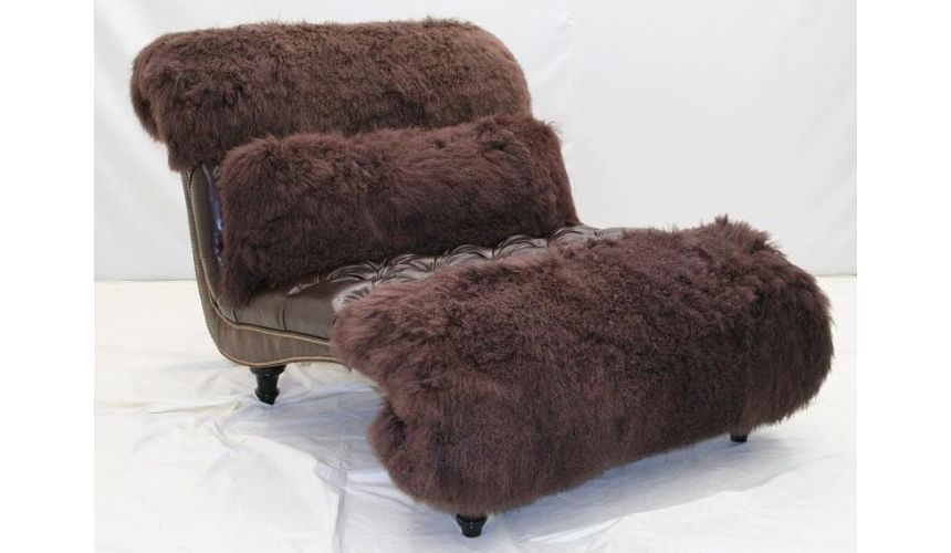 Luxury furniture. Chocolate Snow tip Hair hide chaise